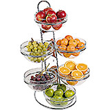 Clear, Chrome Steel Four-tier Ladder and Large Bowl Set, 15.38""