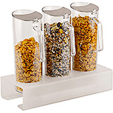 Clear, Polycarbonate Triple Cereal Dispenser Pitcher W/ Plexiglass Tall Base