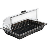 Dark Wood Tone, Polyrattan Rectangular Bread Basket Gn 1/1
