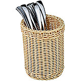 Light Wood Tone, Polyrattan Flatware/breadstick Basket, 4.75""