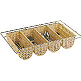 Light Wood Tone, Polyrattan Four Compartment Condiment / Silverware Basket, 1/1 Gn