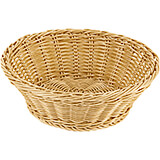 Light Wood Tone, Polyrattan Reinforced Round Bread Basket, 10.12""
