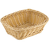 "Light Wood Tone, Polyrattan Rectangular Bread Basket, 9"" X 7.12"""