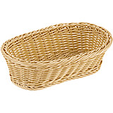"Light Wood Tone, Polyrattan Reinforced Oval Bread Basket, 11"" X 6.25"""