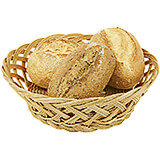 Light Wood Tone, Polyrattan Round Bread Basket, 9""
