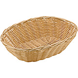 "Light Wood Tone, Polyrattan Oval Bread Basket, 9"" X 6"""