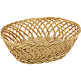 "Light Wood Tone, Polyrattan Oval Bread Basket, 10.63"" X 7.88"""