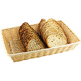 "Light Wood Tone, Polyrattan Rectangular Bread Basket, 11.88"" X 8.63"""