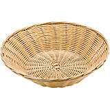 Light Wood Tone, Polyrattan Slanted Round Bread Basket, 7.13""