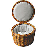 Light Wood Tone, Rattan Fabric-lined Egg Basket, 10.13""