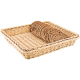 "Light Wood Tone, Polyrattan Bread Basket - 1/2 Gn, 4"" Deep"