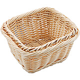 "Light Wood Tone, Polyrattan Bread Basket - 1/6 Gn, 4"" Deep"