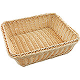 "Light Wood Tone, Polyrattan Bread Basket - 2/3 Gn, 4"" Deep"