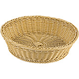 "Light Wood Tone, Polyrattan Large Round Bread Basket, 15"" Diam"