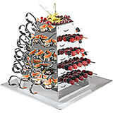 Stainless Steel Tasting Spoon Holder, Rotating Display W/ 12 Spoons, 20 Skewers