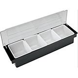 Black, Plastic Bar Condiment Caddy, 4 Compartments