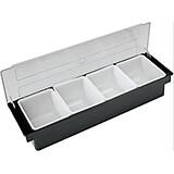 Black, Plastic Bar Condiment Caddy, 4 Compartments