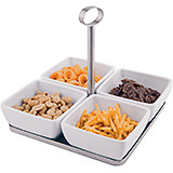 White, Melamine 4 Square Bowl Set with Stainless Steel Base