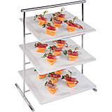 Chrome Steel Three-tier Display Stand for Square Trays / Plates