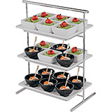 Chrome Steel Three-tier Display Stand for Rectangular Trays / Plates
