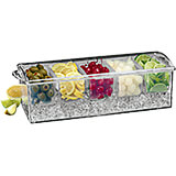 Clear, Plastic Bar Condiment Caddy W/ Ice Drawer, 5 Compartments