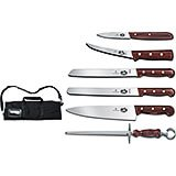 7-piece Culinary Knife Set, Rosewood Handles, With Canvas Case