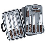 14-piece Gourmet Knife Set, Rosewood Handles, With Black Hard Case