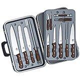 14-piece Gourmet Knife Set, Rosewood Handles, With Black Hard Case