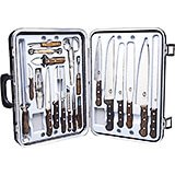 24-piece Gourmet Knife Set, Rosewood Handles, With Black Hard Case