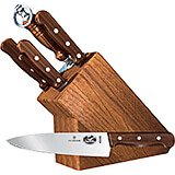7-piece Knife Set With Oak Block Base, Rosewood Handles