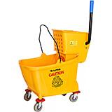 Yellow, Plastic Mop Bucket with Side Wringer Combo