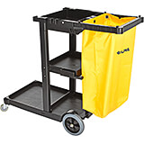Gray, Plastic Janitorial Cleaning Cart with 3 Shelves