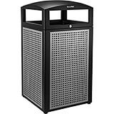 Silver, Rugged 40-Gallon All-Weather Trash Container, Powder-coated Steel Frame and Lid W/ Steel Panels