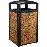 Rugged 40-Gallon All-Weather Trash Container with Ash Tray, Powder-coated Steel Frame and Lid W/ Stone Panels