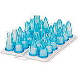 Translucent Blue, Polycarbonate Set Of 12 Assorted Icing Tips, 5""