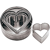 Stainless Steel Heart Dough Cutter, Set Of 6 Assorted Pieces