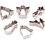 Stainless Steel Set Of 6 Assorted Christmas Cookie Cutters, 3.13""
