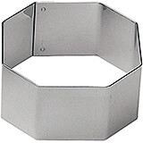 "Stainless Steel Hexagon Pastry Ring, 2.38"", 6/PK"