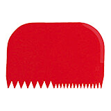 Red, Plastic Bowl Scraper, Serrated Two-way, 5.75""