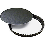 Black, Steel Fluted Non-stick Tart Pan, Removable Bottom, 11""