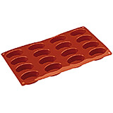 Non-stick Silicone Mold, Oval, Sheet Of 16