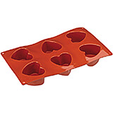 Non-stick Silicone Mold, Mini Hearts, Sheet Of 6
