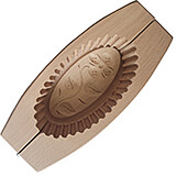"""Brown, Wooden Oval Butter Mold with Double Flower Imprint, 9"""""""