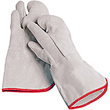 White, Cotton Oven Mitts, Three Fingers, 14""