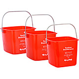 Red, ABS 3, 6 and 8 Qt. Cleaning Bucket / Pail, 3/PK