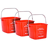 Red, ABS 8 Qt. Cleaning Bucket / Pail, 3/PK
