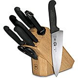 8-piece Knife Set With Hardwood Block Base, Black Fibrox Handles