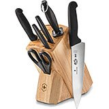 Black, 7-piece Hardwood Block Set, Fibrox Handles
