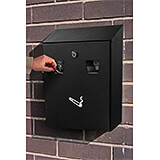 Black, Steel All-In-One Wall Mounted Cigarette Disposal Bin / Outdoor Ashtray