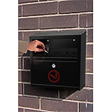 Black, Steel Quick Clean Wall Mounted Cigarette Disposal Bin / Outdoor Ashtray